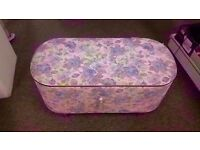 FAIR CONDITION! flowery design/pattern ottoman storage space saver with wooden legs