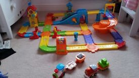 Vtech toot toot train track and 2 trains