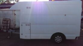 LARGE EX BT FIBREGLASS BOX TRAILER- 4DR, MOBILE WORKSHOP?MARKET TRADER?