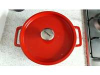 Red Pyrex crockpot