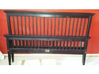 Beautiful Double wooden dark brown bed with clean mattress.