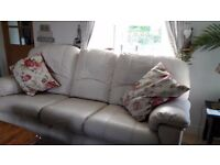 3 seater sofa- cream leather-G Plan
