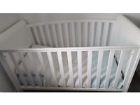 White Sleigh Cot Bed & Bedding