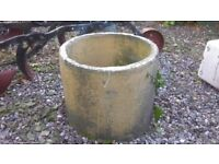 """YELLOW BUFF QUEEN CROWN COWL - NICELY WEATHERED - 14"""" dia x 11 1/2"""" high - NICE GARDEN ITEM"""