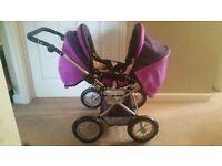Purple double toy pram