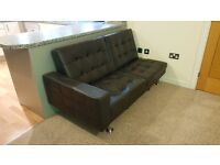 Black Leather Sofa/ Sofabed - £50