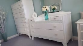 Beautiful antique dresser and tall drawer set with diamanté heart knobs and intricate details. White
