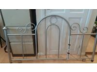 King Size Metal Silver Headboard
