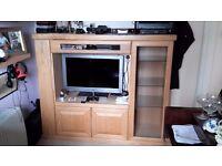 Oak coloured with oak fascias TV /gaming media unit.