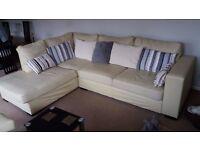 Lovely cream leather corner sofa and single armchair