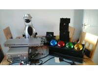 Dj equipment. 4. Lights with light stand. cd player, mini disc recorder
