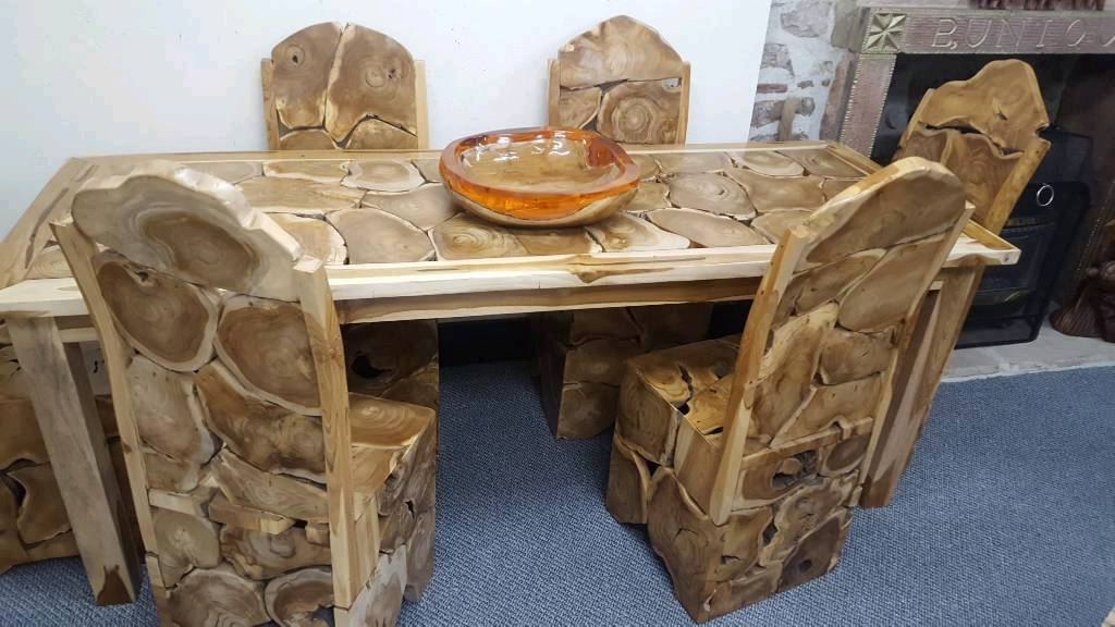 Beautiful indonesian handcrafted table and chairs