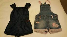 Age 2-3 x two denim play suits dungarees Ted Baker