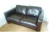 BROWN Italian Leather 2 seater sofa.