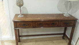 Iain James burr walnut 3 drawer console table - top quality item