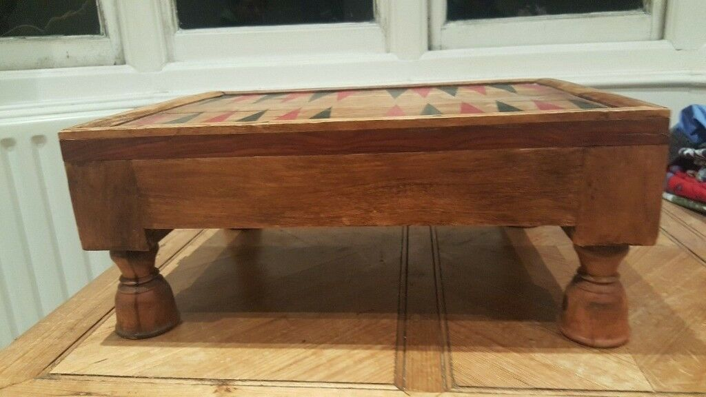Small Rustic Heavy Solid Pine Backgammon Game Table In Good Used Condition Free Local Delivery