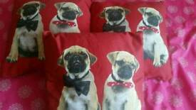 3 pug cushions