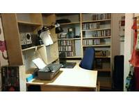 Corner Desk with small filing cabinet / drawers4 x bookcases and office chair