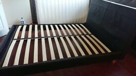Faux leather double bed frame + Side table for sale