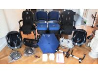 ROYAL BLUE BUGABOO DONKEY TWIN+2 MAXI COSI CABRIOFIX CAR SEATS & MANY EXTRAS-RRP £1800.00