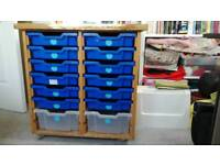 A UNIT OF DRAWERS TRAYS FROM A SCHOOL UNIT GREAT FOR TOYS ETC