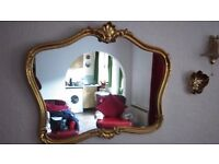 Gold framed living room dining room mirror