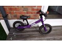 Purple Frog Tadpole balance bike, 1 year old