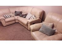 Leather corner sofa & chair, sofa manual recline x 2, chair electric,generally good condition
