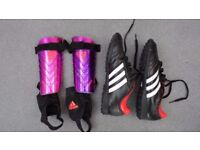 Adidas Football Boots, UK Boys 6 size,and shin pads