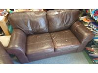 Brown leather 2 seat sofa and armchair suite settee
