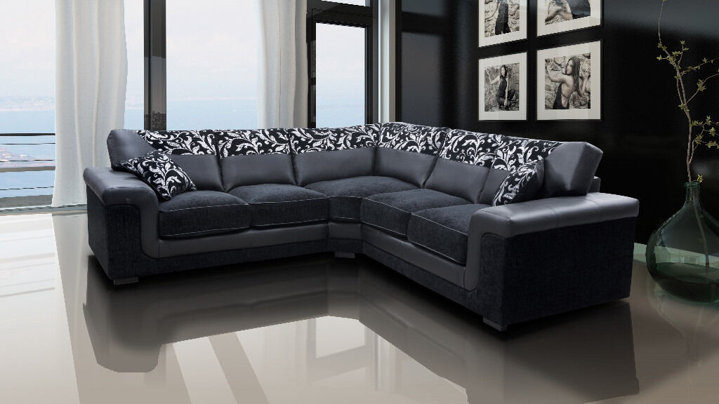 Brand New Luxury Chenille Fabric And Leather Symphony Corner Sofas