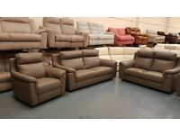 Ex-display Italian Ticino taupe grey leather 3+2 seater sofas and 2 armchairs