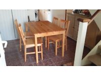 Dining Table and 4 chairs.Been in storage 4 years.Ideal for painting to individuals tastes.