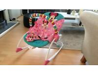 Disney baby bright starts mini mouse bounce infant to toddler rocker