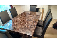 Marble Effect Dining Table, 6 Chairs and Matching Sideboard