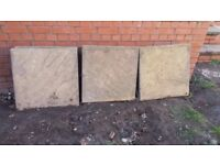 42 riven buff paving slabs, bargain price. 600x600x35 mm (60x60x3.5 cm; 2ft by 2ft)