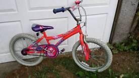 Girls push bicycle