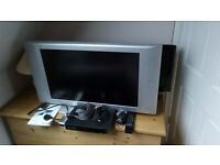 """32"""" Phillips Flat TV Model No. FTL13E, plus YouView set top box and 2 scart cables."""