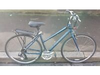 "ladies ridgeback motion hybrid bike 19"" medium frame 21 speed good condition with d lock and lights"