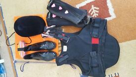 Girls Horse Riding Equipment: Helmet, Boots, Body Protector, Chaps, Crop + Gloves (age 12/13 years)