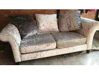 2 seater crushed velvet sofa