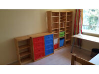 Pine bookcases and cabinet with shelves/drawers IKEA TROFAST for child/teen room