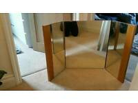 Large solid oak three way dressing table mirror