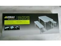 Urban Escape Folding table and Bench Set GARDEN PICKNIC CAMPING TRAVEL USE
