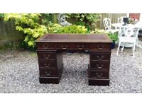 Antique Style Chesterfieild Mahogany Leather Top Pedestal Writing Desk / Table