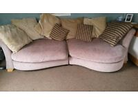 DFS beige 3 seater, 2 seater snuggle sofa and footstool