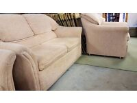 Cream Fabric 2 Seat Sofa & 2 Arm Chairs In Great Condition