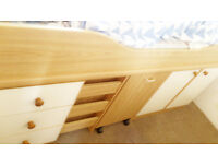 bunk bed, chest, drawers, desk,