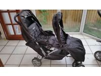 Gracco black double pushchair (used)