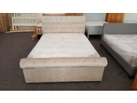 Ex Display Julian Bowen Ravello Mink Chenille 2 Drawer Storage Double Bed (BED ONLY) **Can Deliver**